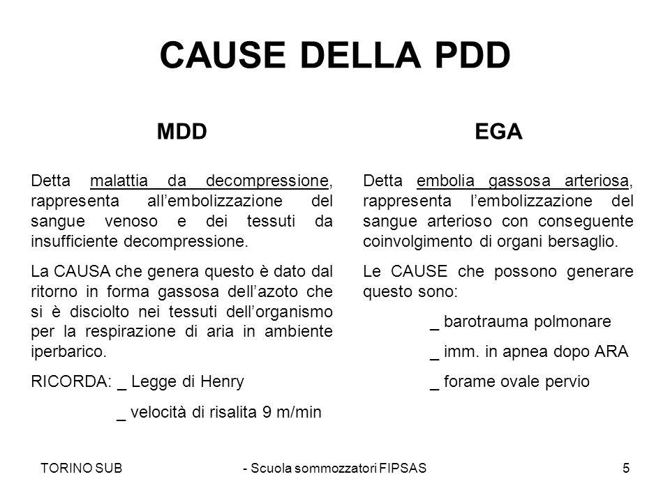 TORINO SUB- Scuola sommozzatori FIPSAS5 CAUSE DELLA PDD MDDEGA Detta malattia da decompressione, rappresenta allembolizzazione del sangue venoso e dei
