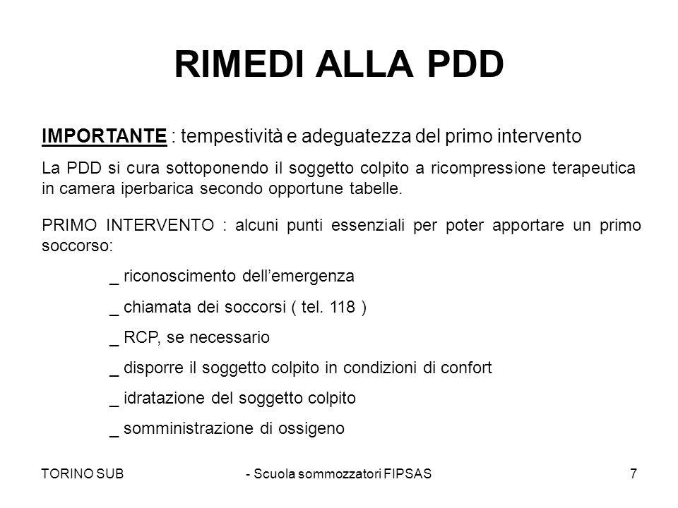 TORINO SUB- Scuola sommozzatori FIPSAS7 RIMEDI ALLA PDD IMPORTANTE : tempestività e adeguatezza del primo intervento La PDD si cura sottoponendo il so