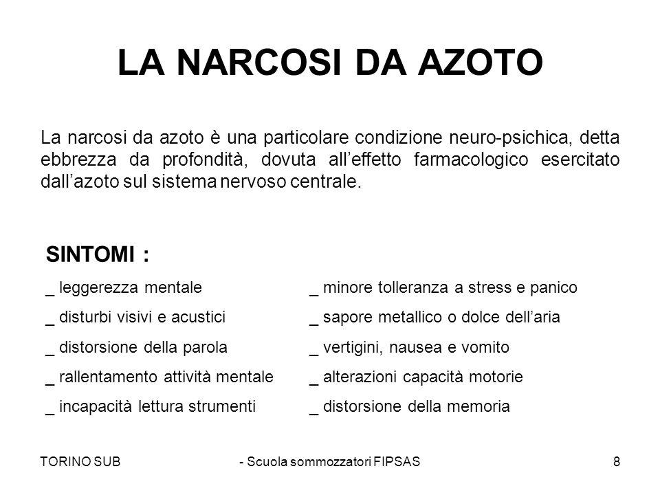 TORINO SUB- Scuola sommozzatori FIPSAS8 LA NARCOSI DA AZOTO La narcosi da azoto è una particolare condizione neuro-psichica, detta ebbrezza da profond