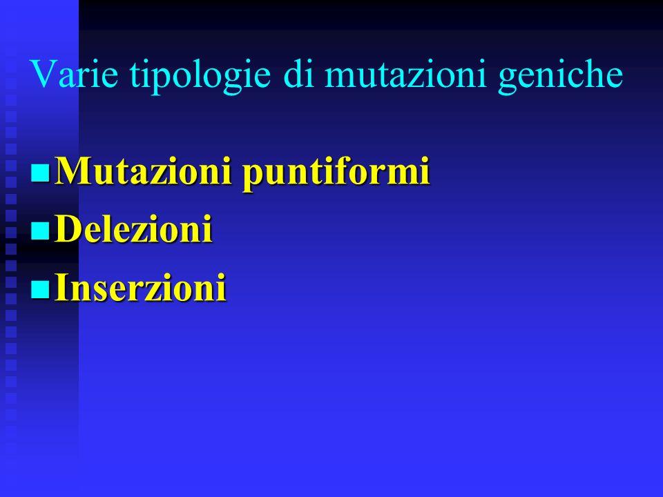 Mutazioni geniche Sono mutazioni che avvengono allinterno della sequenza nucleotidica di un gene Sono mutazioni che avvengono allinterno della sequenz