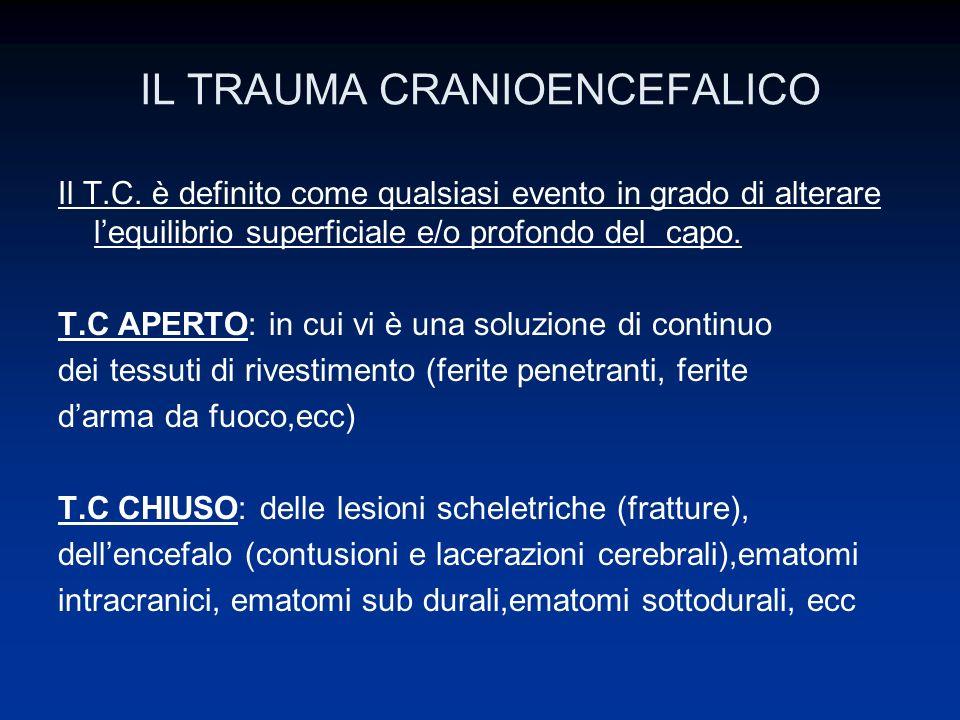 IL TRAUMA CRANIOENCEFALICO TRIAGE TRAUMA CRANICO BASSO RISCHIO Pazienti asintomatici oppure con: Vertigini e/o cefalea Ematoma cutaneo, contusione, abrasione.
