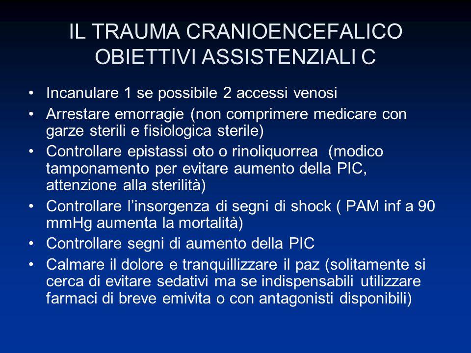 IL TRAUMA CRANIOENCEFALICO OBIETTIVI ASSISTENZIALI C Incanulare 1 se possibile 2 accessi venosi Arrestare emorragie (non comprimere medicare con garze