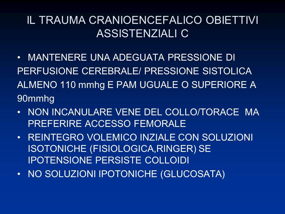 IL TRAUMA CRANIOENCEFALICO OBIETTIVI ASSISTENZIALI C MANTENERE UNA ADEGUATA PRESSIONE DI PERFUSIONE CEREBRALE/ PRESSIONE SISTOLICA ALMENO 110 mmhg E P