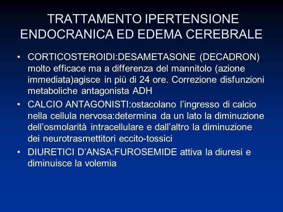 TRATTAMENTO IPERTENSIONE ENDOCRANICA ED EDEMA CEREBRALE CORTICOSTEROIDI:DESAMETASONE (DECADRON) molto efficace ma a differenza del mannitolo (azione i