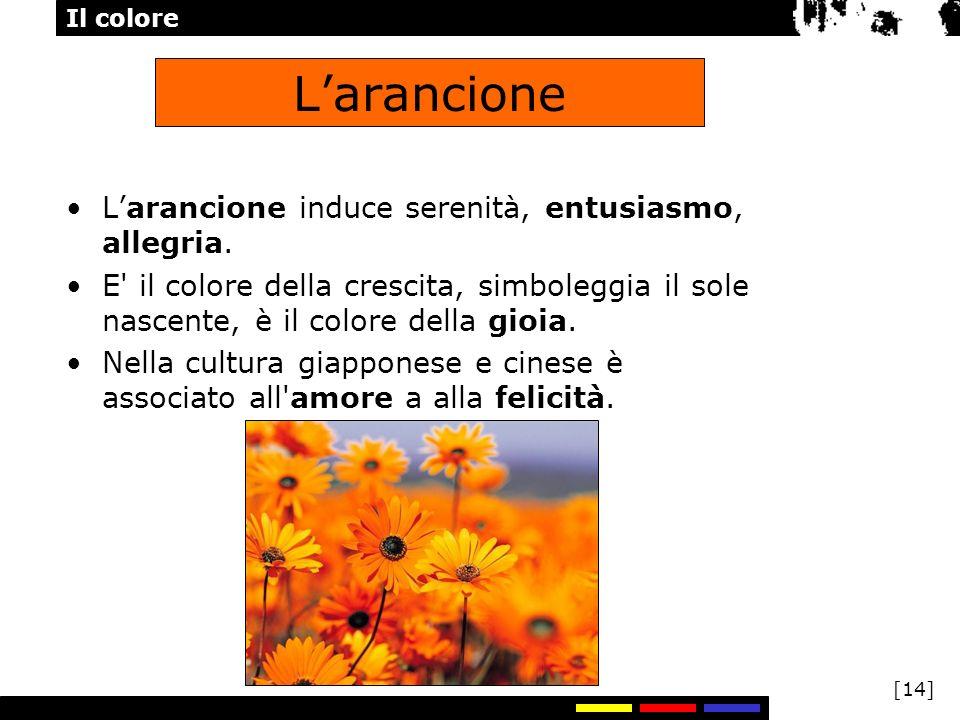 Il colore [14] Larancione Larancione induce serenità, entusiasmo, allegria. E' il colore della crescita, simboleggia il sole nascente, è il colore del