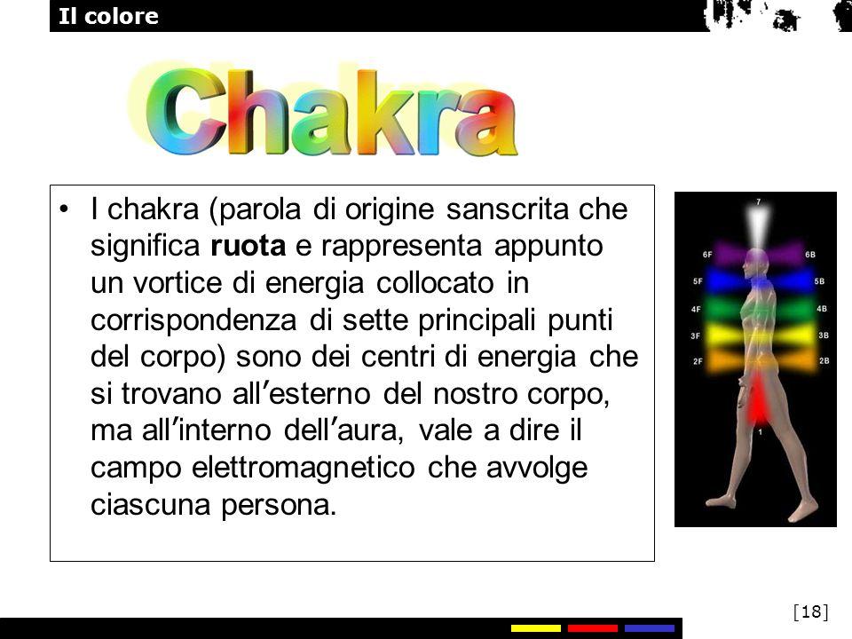 Il colore [18] I chakra (parola di origine sanscrita che significa ruota e rappresenta appunto un vortice di energia collocato in corrispondenza di se