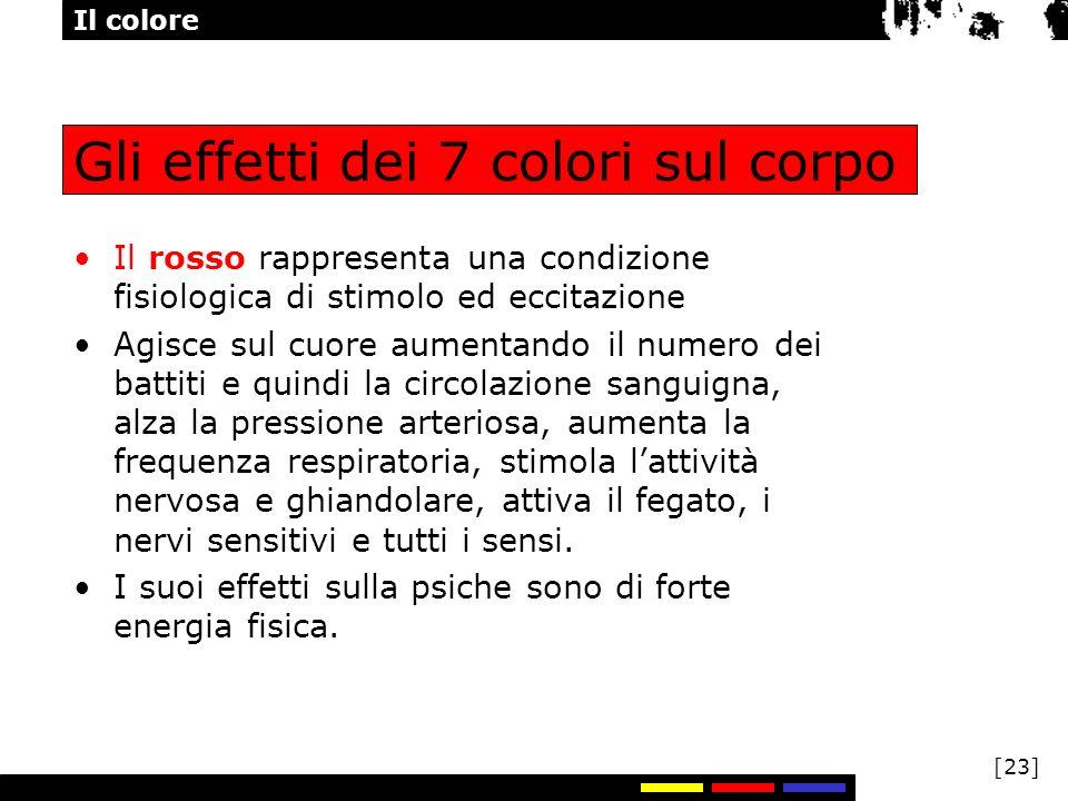 Il colore [23] Gli effetti dei 7 colori sul corpo Il rosso rappresenta una condizione fisiologica di stimolo ed eccitazione Agisce sul cuore aumentand