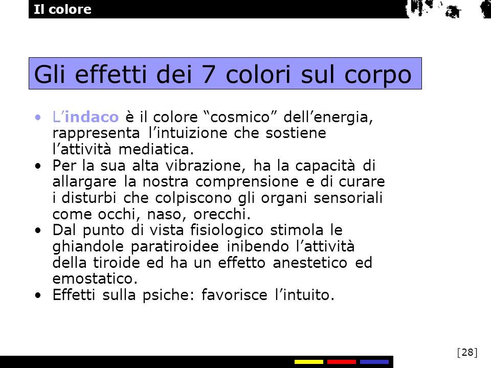 Il colore [28] Gli effetti dei 7 colori sul corpo Lindaco è il colore cosmico dellenergia, rappresenta lintuizione che sostiene lattività mediatica. P