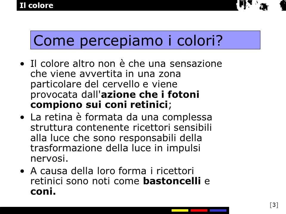 Il colore [3] Come percepiamo i colori? Il colore altro non è che una sensazione che viene avvertita in una zona particolare del cervello e viene prov