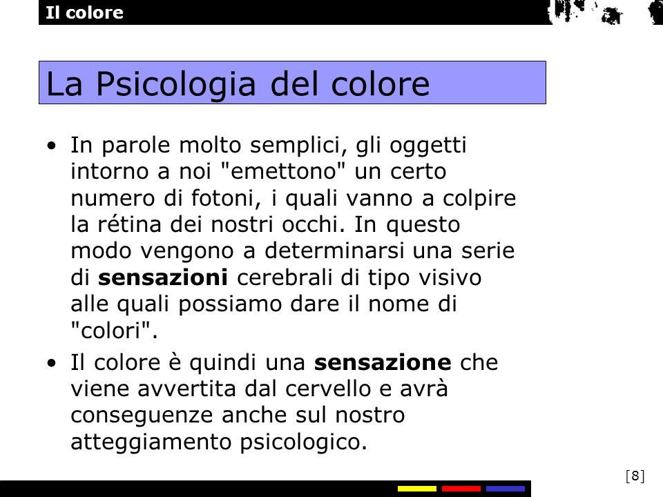 Il colore [8] La Psicologia del colore In parole molto semplici, gli oggetti intorno a noi