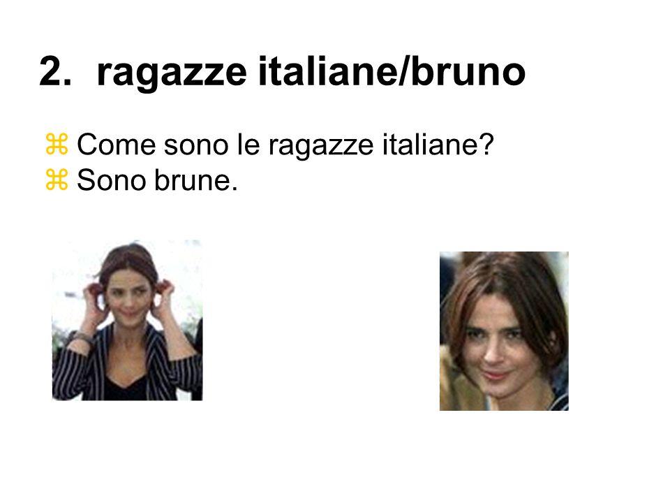 Come sono le ragazze italiane? Sono brune. 2. ragazze italiane/bruno
