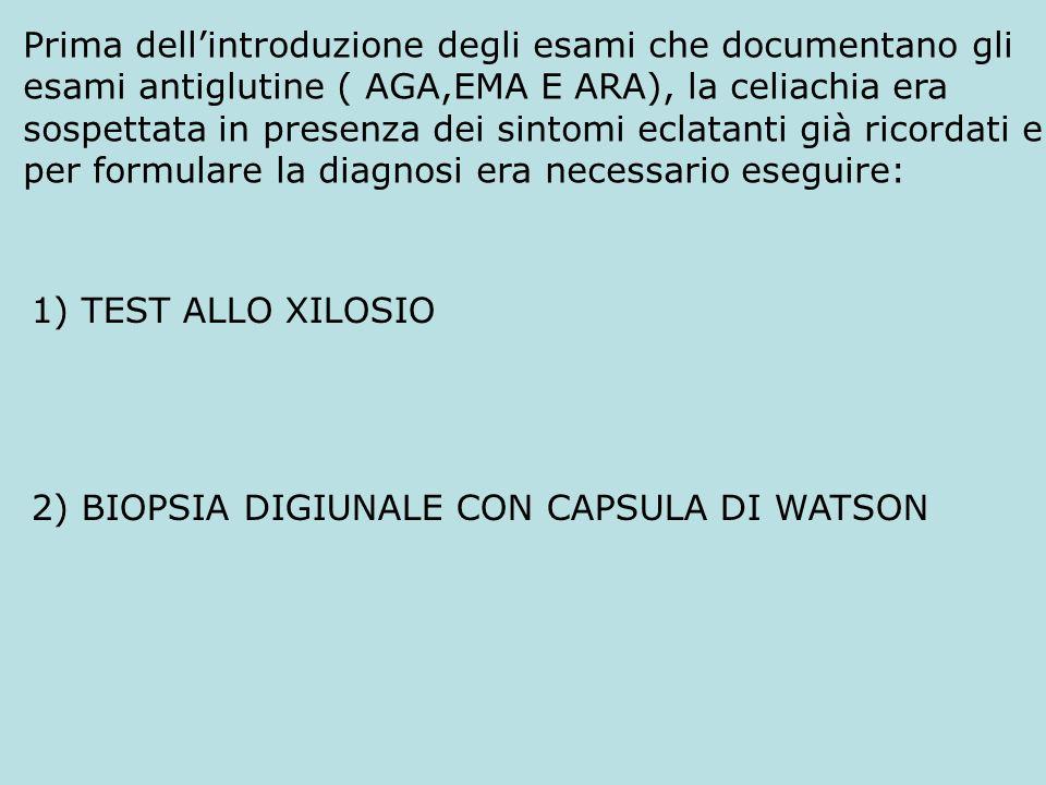 1) TEST ALLO XILOSIO 2) BIOPSIA DIGIUNALE CON CAPSULA DI WATSON Prima dellintroduzione degli esami che documentano gli esami antiglutine ( AGA,EMA E A