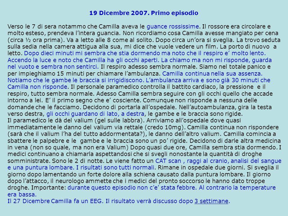19 Dicembre 2007. Primo episodio Verso le 7 di sera notammo che Camilla aveva le guancie rossissime. Il rossore era circolare e molto esteso, prendeva