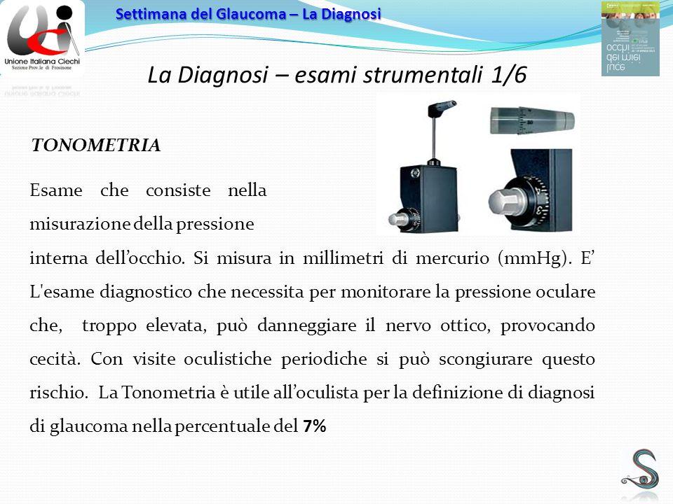 La Diagnosi – esami strumentali 1/6 Settimana del Glaucoma – La Diagnosi TONOMETRIA interna dellocchio.