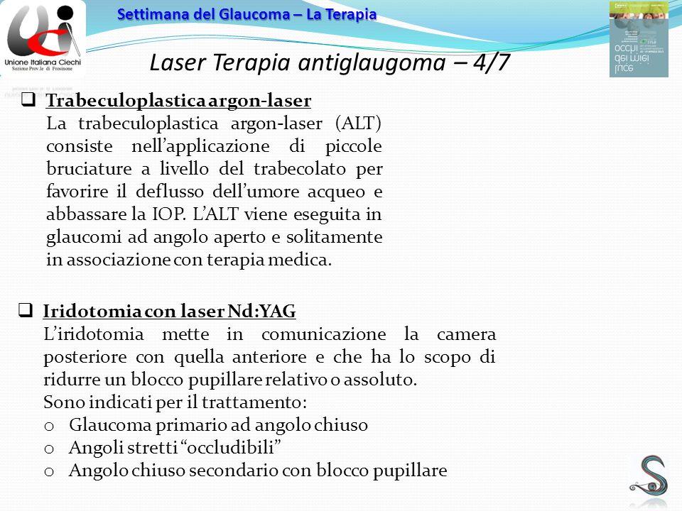 Laser Terapia antiglaugoma – 4/7 Settimana del Glaucoma – La Terapia Trabeculoplastica argon-laser La trabeculoplastica argon-laser (ALT) consiste nellapplicazione di piccole bruciature a livello del trabecolato per favorire il deflusso dellumore acqueo e abbassare la IOP.