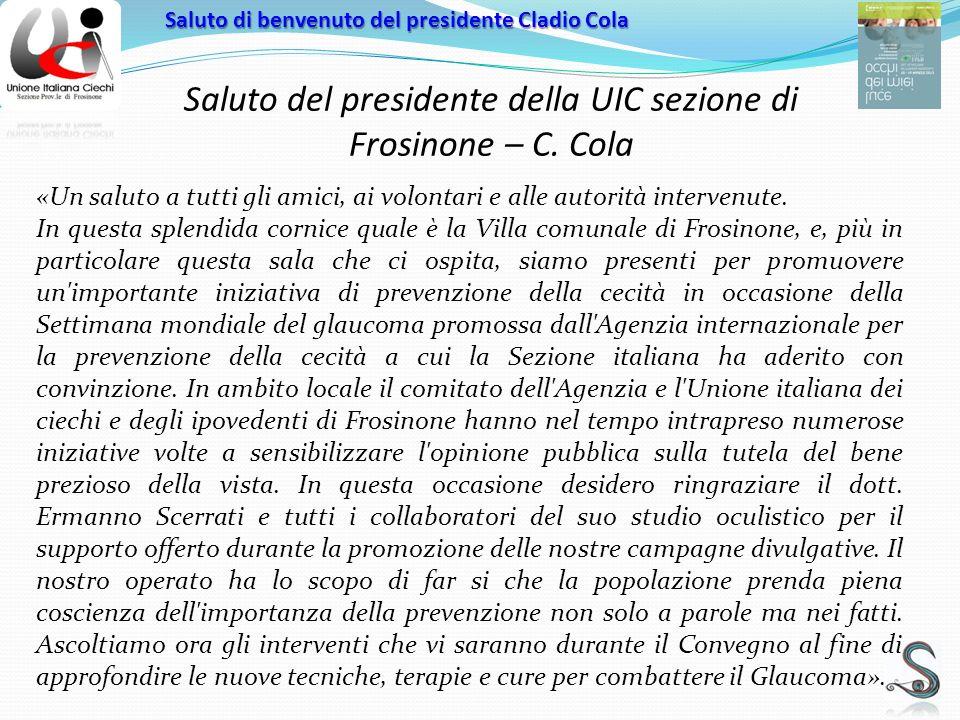 Saluto del presidente della UIC sezione di Frosinone – C.