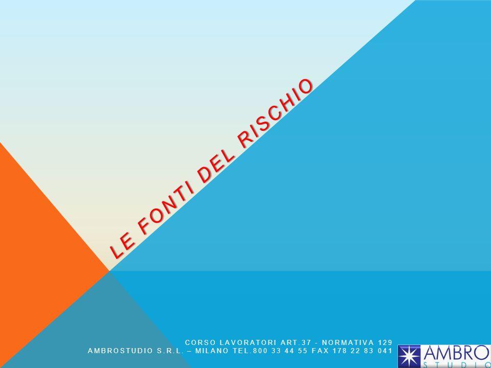 LE FONTI DEL RISCHIO CORSO LAVORATORI ART.37 - NORMATIVA 129 AMBROSTUDIO S.R.L. – MILANO TEL.800 33 44 55 FAX 178 22 83 041