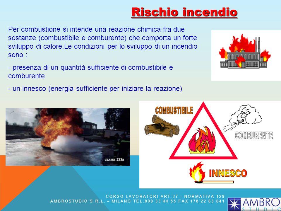 Rischio incendio Per combustione si intende una reazione chimica fra due sostanze (combustibile e comburente) che comporta un forte sviluppo di calore