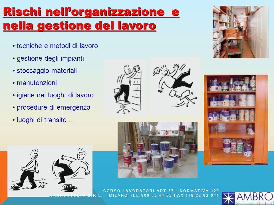 Rischi nellorganizzazione e nella gestione del lavoro tecniche e metodi di lavoro gestione degli impianti stoccaggio materiali manutenzioni igiene nei