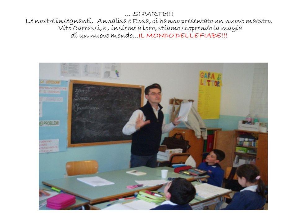 … SI PARTE!!! Le nostre insegnanti, Annalisa e Rosa, ci hanno presentato un nuovo maestro, Vito Carrassi, e, insieme a loro, stiamo scoprendo la magia
