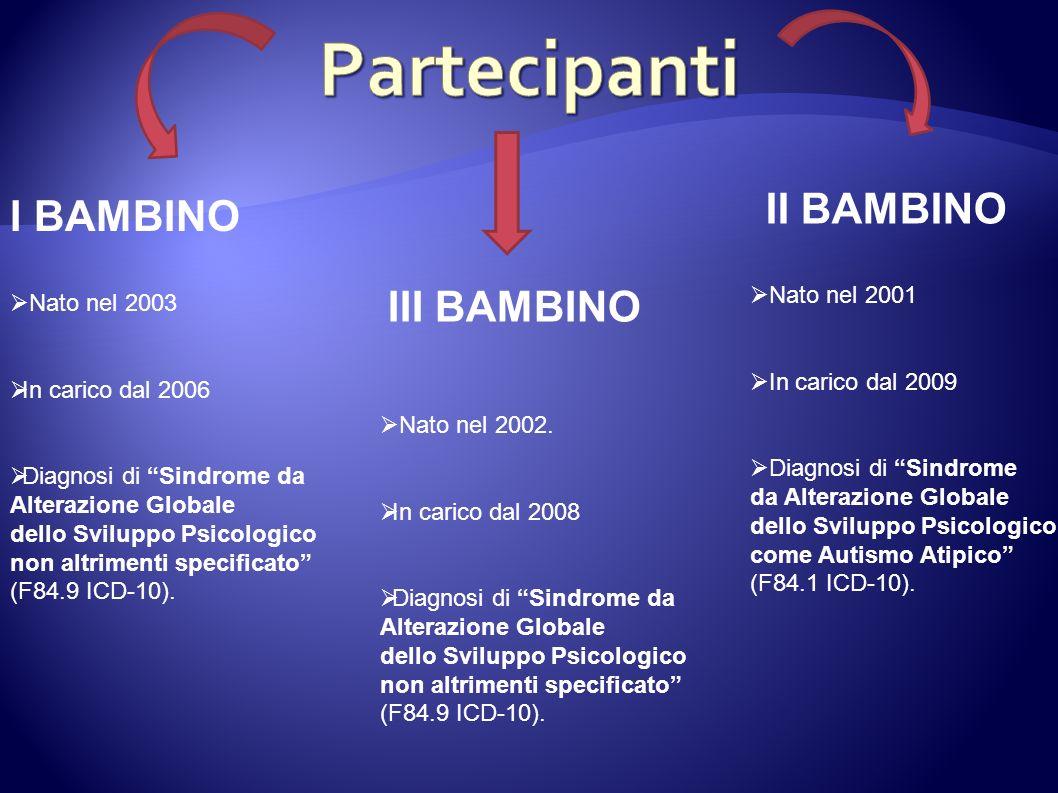 I BAMBINO II BAMBINO III BAMBINO Nato nel 2003 In carico dal 2006 Diagnosi di Sindrome da Alterazione Globale dello Sviluppo Psicologico non altriment