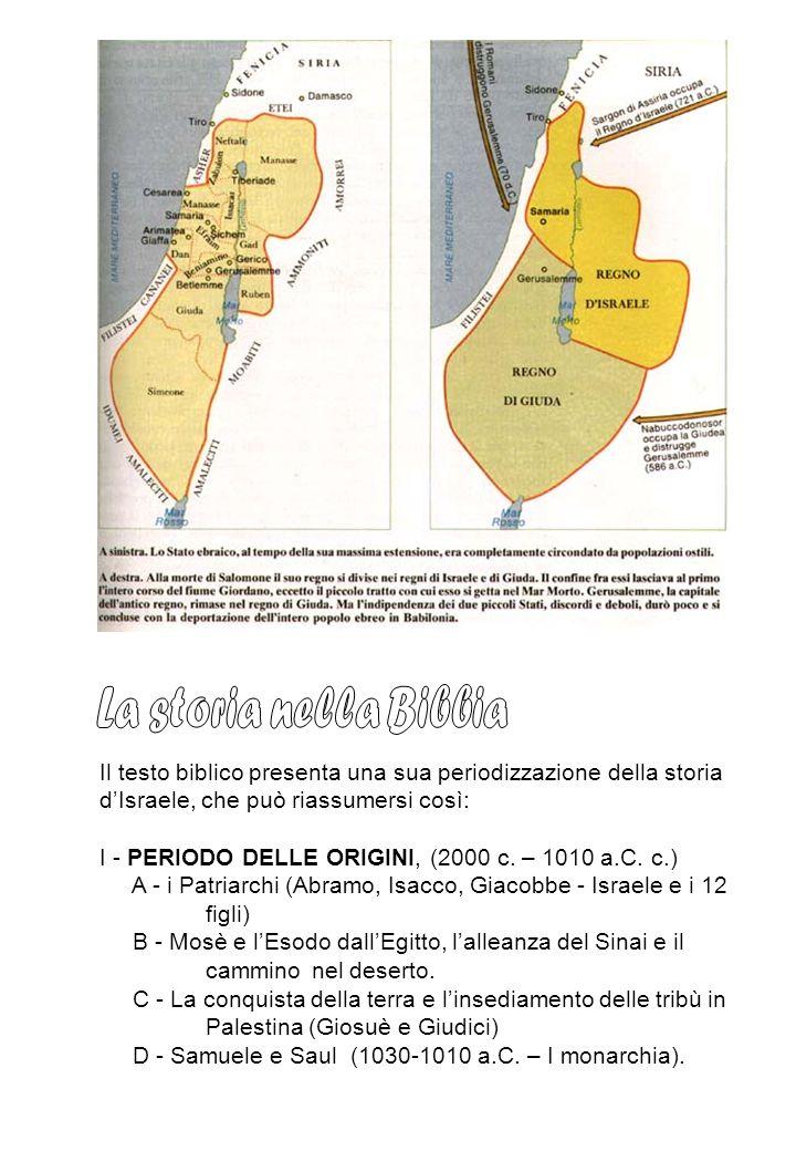 Il testo biblico presenta una sua periodizzazione della storia dIsraele, che può riassumersi così: I - PERIODO DELLE ORIGINI, (2000 c. – 1010 a.C. c.)