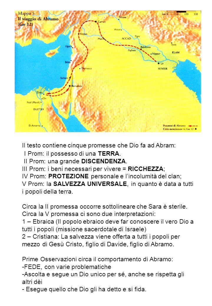 Il testo contiene cinque promesse che Dio fa ad Abram: I Prom: il possesso di una TERRA. II Prom: una grande DISCENDENZA. III Prom: i beni necessari p