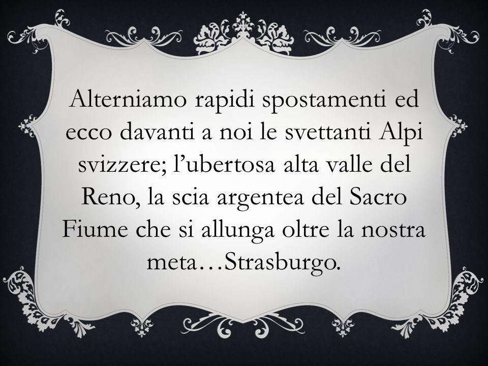 Alterniamo rapidi spostamenti ed ecco davanti a noi le svettanti Alpi svizzere; lubertosa alta valle del Reno, la scia argentea del Sacro Fiume che si allunga oltre la nostra meta…Strasburgo.