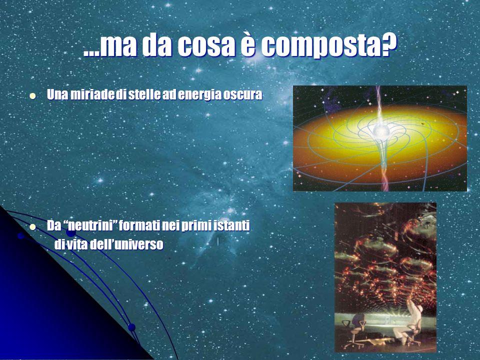 …ma da cosa è composta? Una miriade di stelle ad energia oscura Una miriade di stelle ad energia oscura Da neutrini formati nei primi istanti Da neutr
