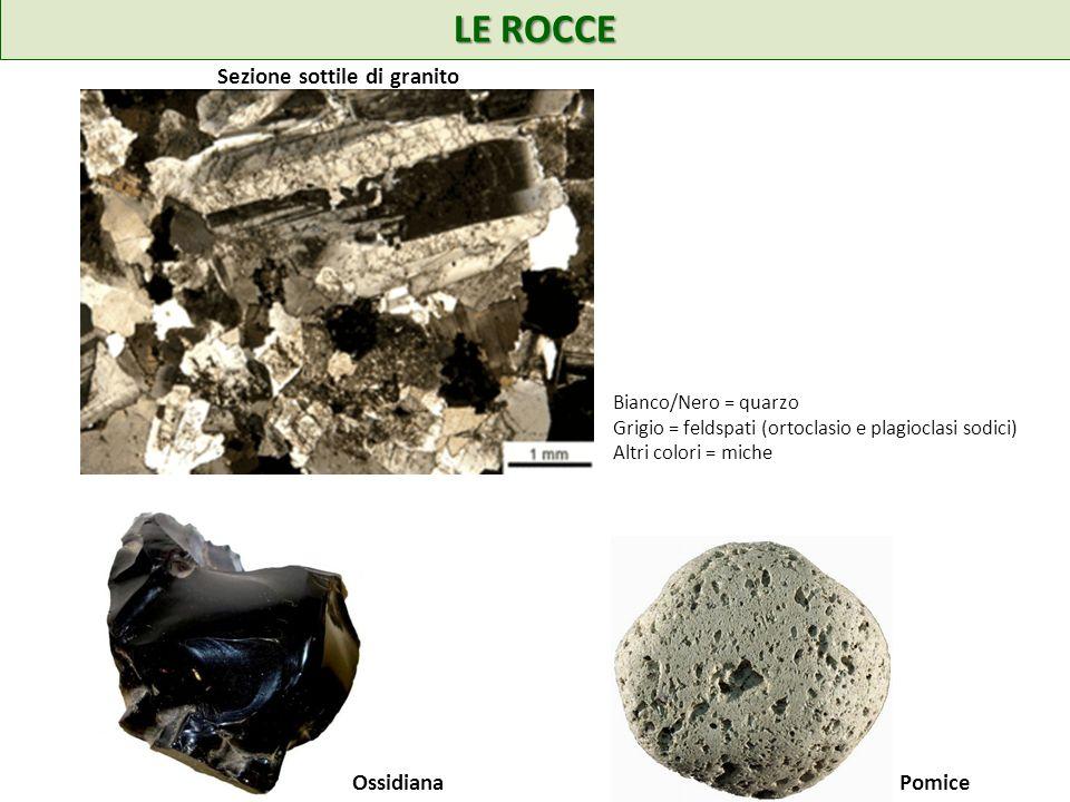 LE ROCCE Sezione sottile di granito Bianco/Nero = quarzo Grigio = feldspati (ortoclasio e plagioclasi sodici) Altri colori = miche OssidianaPomice