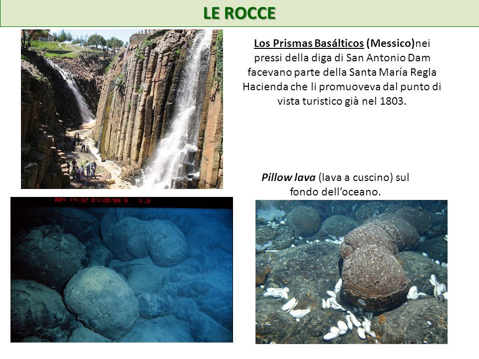 LE ROCCE Los Prismas Basálticos (Messico)nei pressi della diga di San Antonio Dam facevano parte della Santa María Regla Hacienda che li promuoveva da