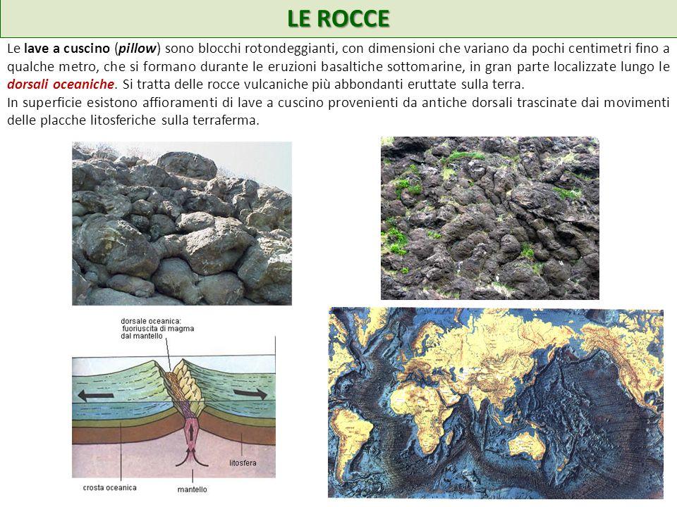 LE ROCCE Le lave a cuscino (pillow) sono blocchi rotondeggianti, con dimensioni che variano da pochi centimetri fino a qualche metro, che si formano durante le eruzioni basaltiche sottomarine, in gran parte localizzate lungo le dorsali oceaniche.