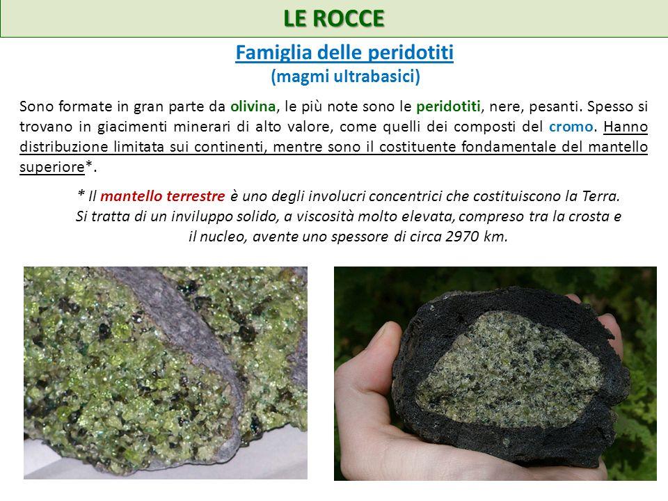 LE ROCCE Sono formate in gran parte da olivina, le più note sono le peridotiti, nere, pesanti. Spesso si trovano in giacimenti minerari di alto valore