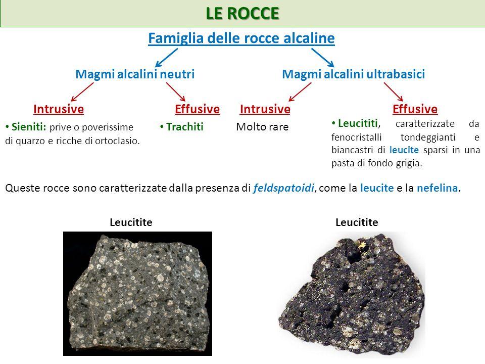 LE ROCCE Queste rocce sono caratterizzate dalla presenza di feldspatoidi, come la leucite e la nefelina. Famiglia delle rocce alcaline Magmi alcalini