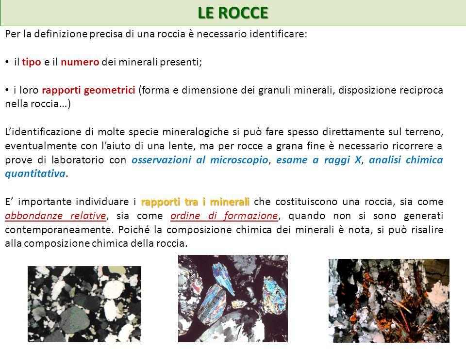LE ROCCE Per la definizione precisa di una roccia è necessario identificare: il tipo e il numero dei minerali presenti; i loro rapporti geometrici (fo