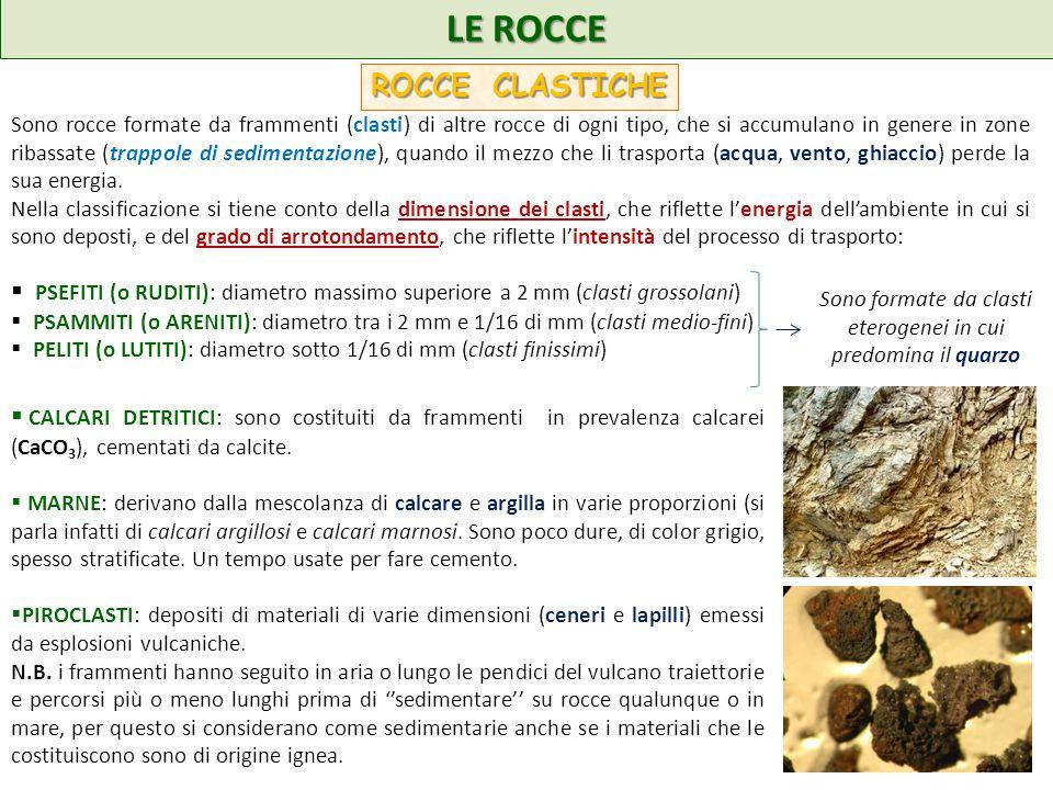 LE ROCCE ROCCE CLASTICHE Sono rocce formate da frammenti (clasti) di altre rocce di ogni tipo, che si accumulano in genere in zone ribassate (trappole