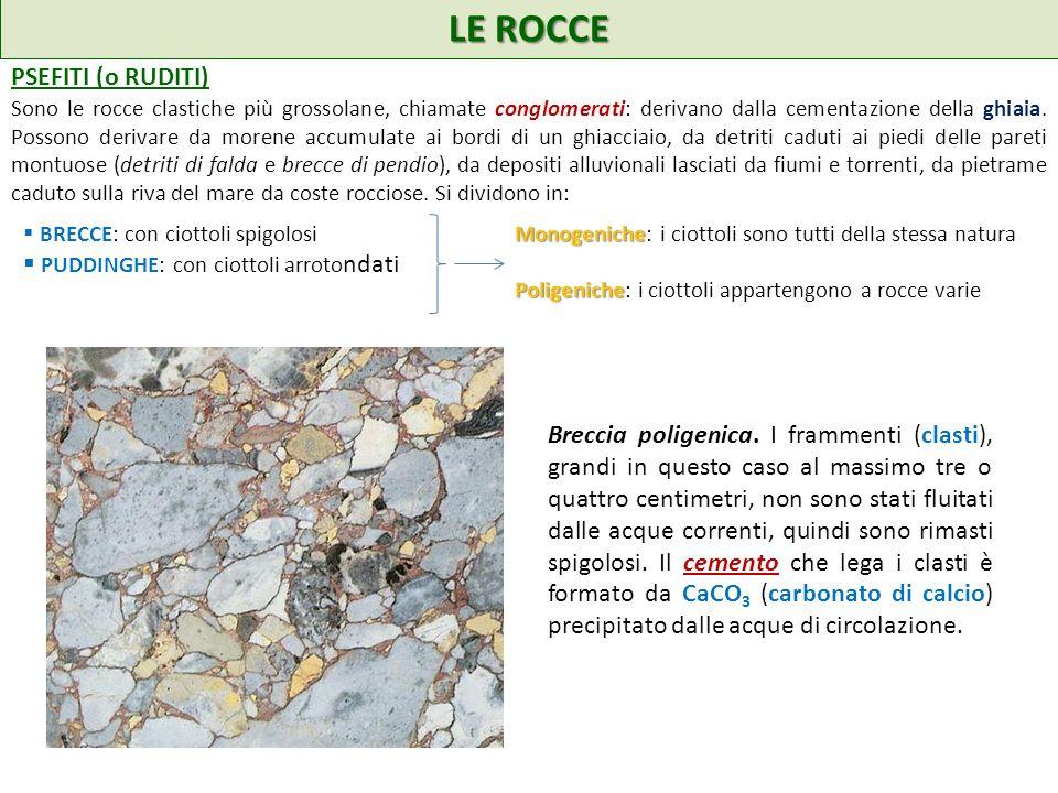 LE ROCCE PSEFITI (o RUDITI) Sono le rocce clastiche più grossolane, chiamate conglomerati: derivano dalla cementazione della ghiaia. Possono derivare