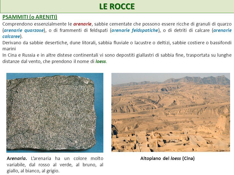 LE ROCCE PSAMMITI (o ARENITI) Comprendono essenzialmente le arenarie, sabbie cementate che possono essere ricche di granuli di quarzo (arenarie quarzose), o di frammenti di feldspati (arenarie feldspatiche), o di detriti di calcare (arenarie calcaree).