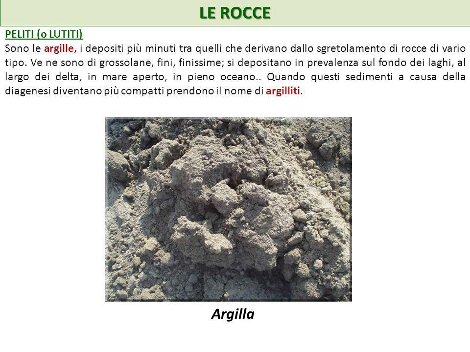 LE ROCCE PELITI (o LUTITI) Sono le argille, i depositi più minuti tra quelli che derivano dallo sgretolamento di rocce di vario tipo. Ve ne sono di gr