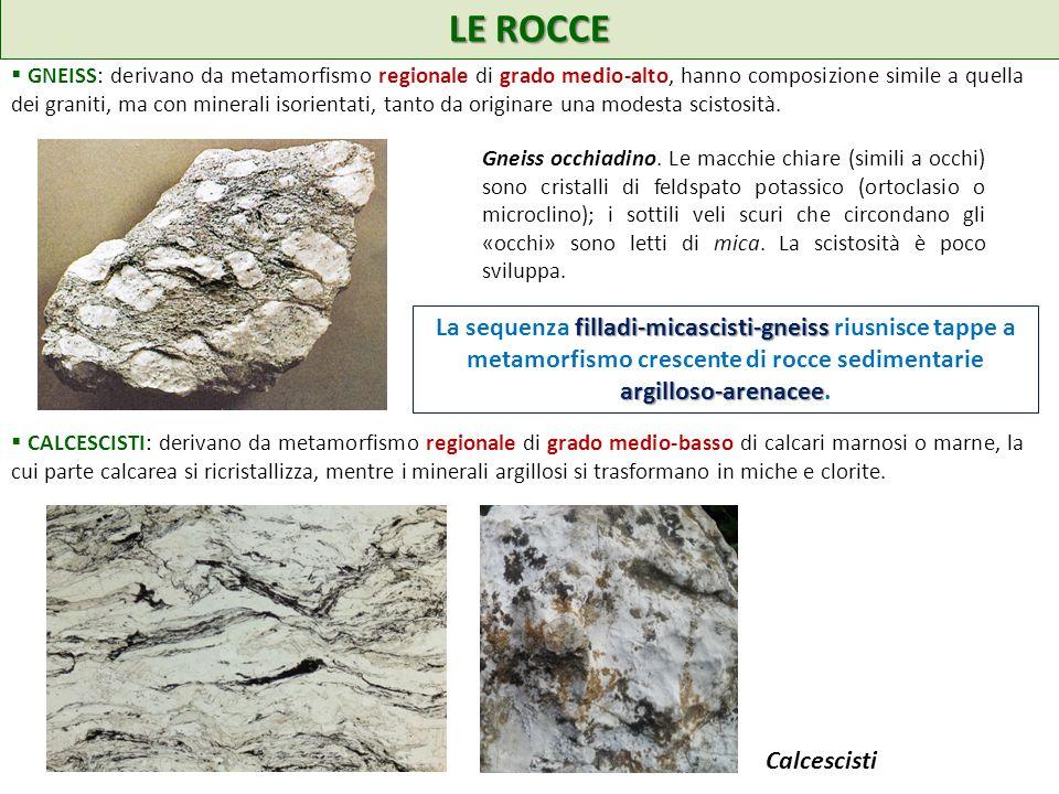 LE ROCCE GNEISS: derivano da metamorfismo regionale di grado medio-alto, hanno composizione simile a quella dei graniti, ma con minerali isorientati, tanto da originare una modesta scistosità.