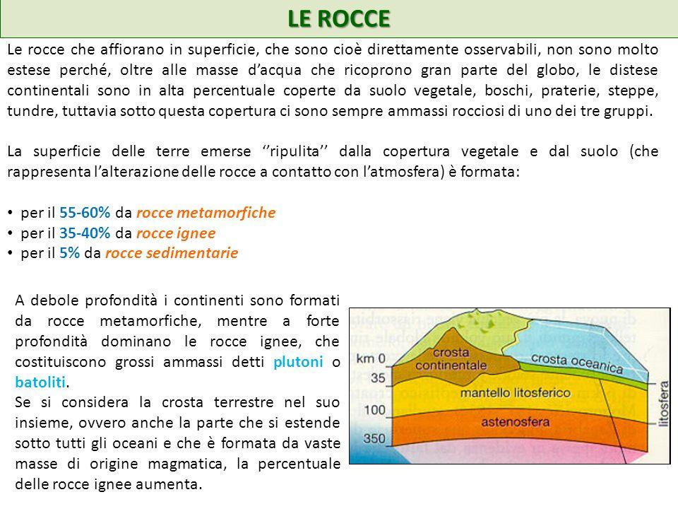 LE ROCCE Le rocce che affiorano in superficie, che sono cioè direttamente osservabili, non sono molto estese perché, oltre alle masse dacqua che ricop