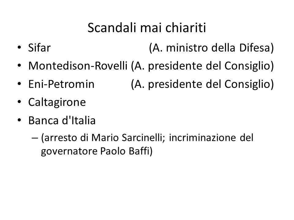 Scandali mai chiariti Sifar(A. ministro della Difesa) Montedison-Rovelli(A.