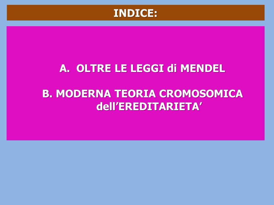 INDICE: A. OLTRE LE LEGGI di MENDEL B.MODERNA TEORIA CROMOSOMICA dellEREDITARIETA