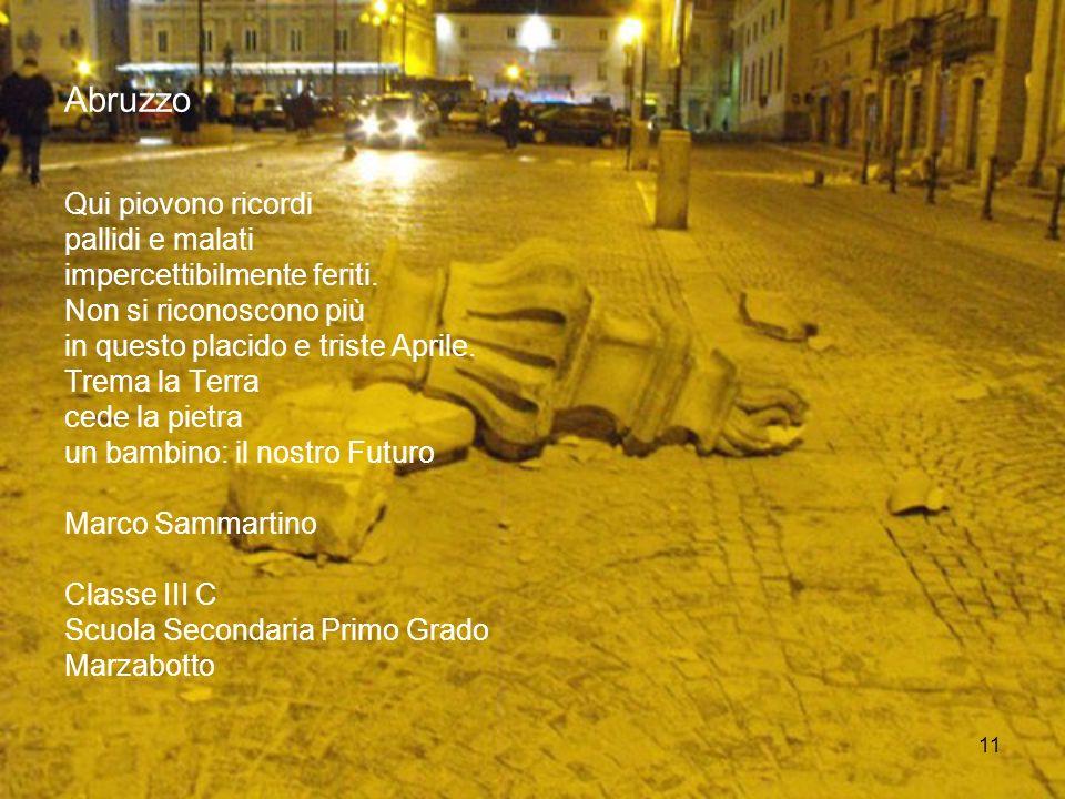 11 Abruzzo Qui piovono ricordi pallidi e malati impercettibilmente feriti. Non si riconoscono più in questo placido e triste Aprile. Trema la Terra ce
