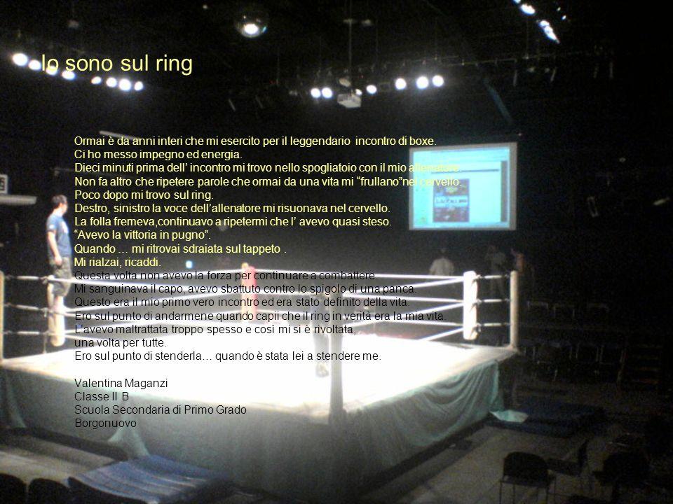 15 Io sono sul ring Ormai è da anni interi che mi esercito per il leggendario incontro di boxe. Ci ho messo impegno ed energia. Dieci minuti prima del