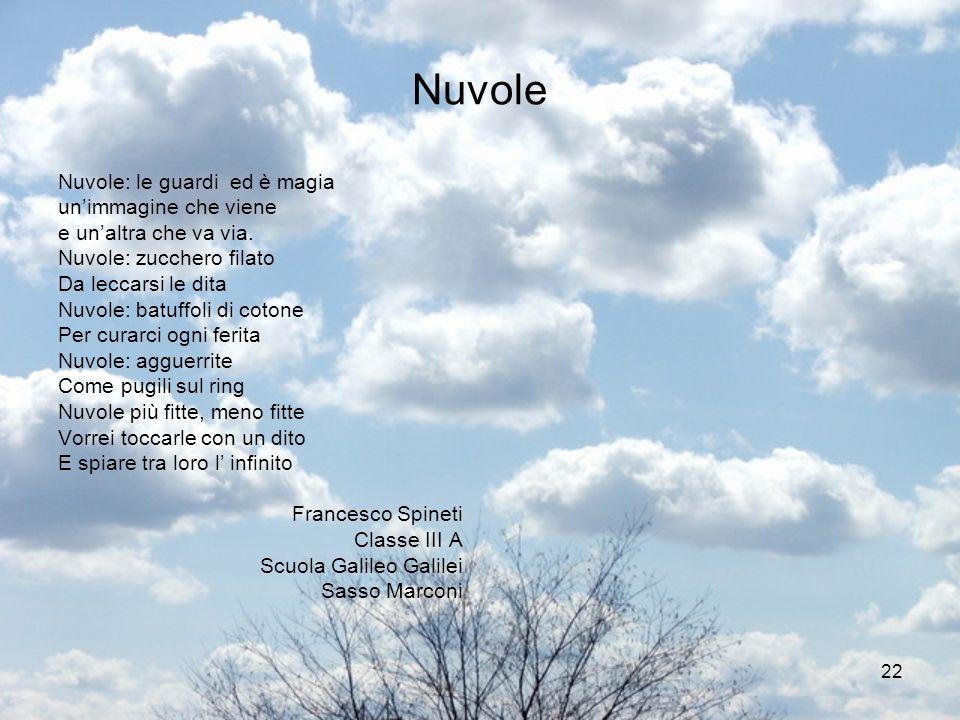 22 Nuvole Nuvole: le guardi ed è magia unimmagine che viene e unaltra che va via. Nuvole: zucchero filato Da leccarsi le dita Nuvole: batuffoli di cot