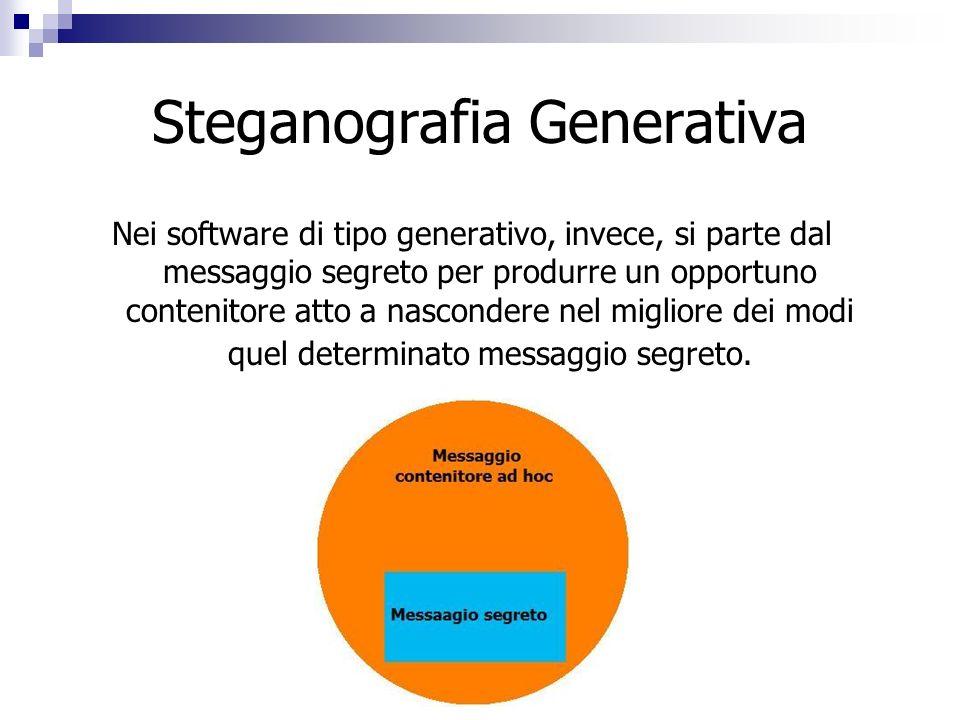 Steganografia Generativa Nei software di tipo generativo, invece, si parte dal messaggio segreto per produrre un opportuno contenitore atto a nasconde