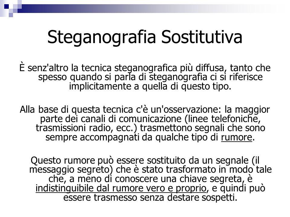 Steganografia Sostitutiva È senz'altro la tecnica steganografica più diffusa, tanto che spesso quando si parla di steganografia ci si riferisce implic