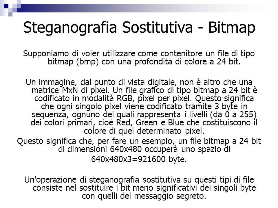 Steganografia Sostitutiva - Bitmap Supponiamo di voler utilizzare come contenitore un file di tipo bitmap (bmp) con una profondità di colore a 24 bit.