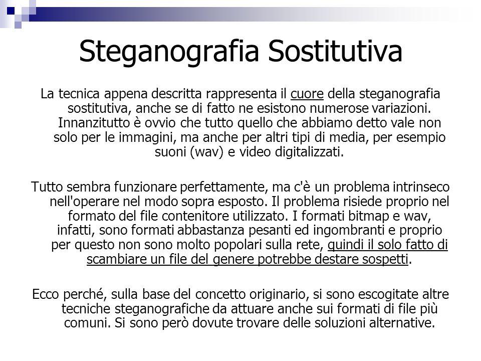 Steganografia Sostitutiva La tecnica appena descritta rappresenta il cuore della steganografia sostitutiva, anche se di fatto ne esistono numerose var